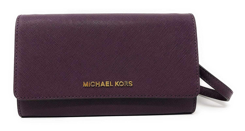 10abd25ae76f1 Amazon.com  Michael Kor Jet Set Large Phone Crossbody Wallet Pearl Grey  Saffiano  Clothing