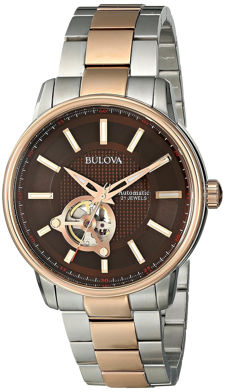 9ecf29ef34c Amazon.com  Bulova Men s 98A140 Analog Automatic Mechanical Stainless Steel  Silver Watch  Bulova  Watches