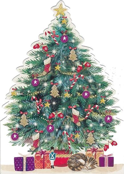 Die Cut dormir Kitty Gato bajo el árbol de Navidad Animal caridad ...