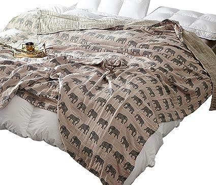 0970ca22b8 Scientific Sleep Elephant Cute Cozy Lightweight Muslin Cotton Blanket Twin