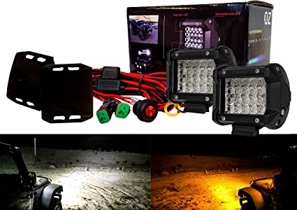 "3/"" LED Pod Ultra Spot Optic Lens Amber Flood Beam Black Covers Wire Harness SUV"