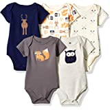 Hudson Baby Infant Cotton Bodysuits, 5 Pack