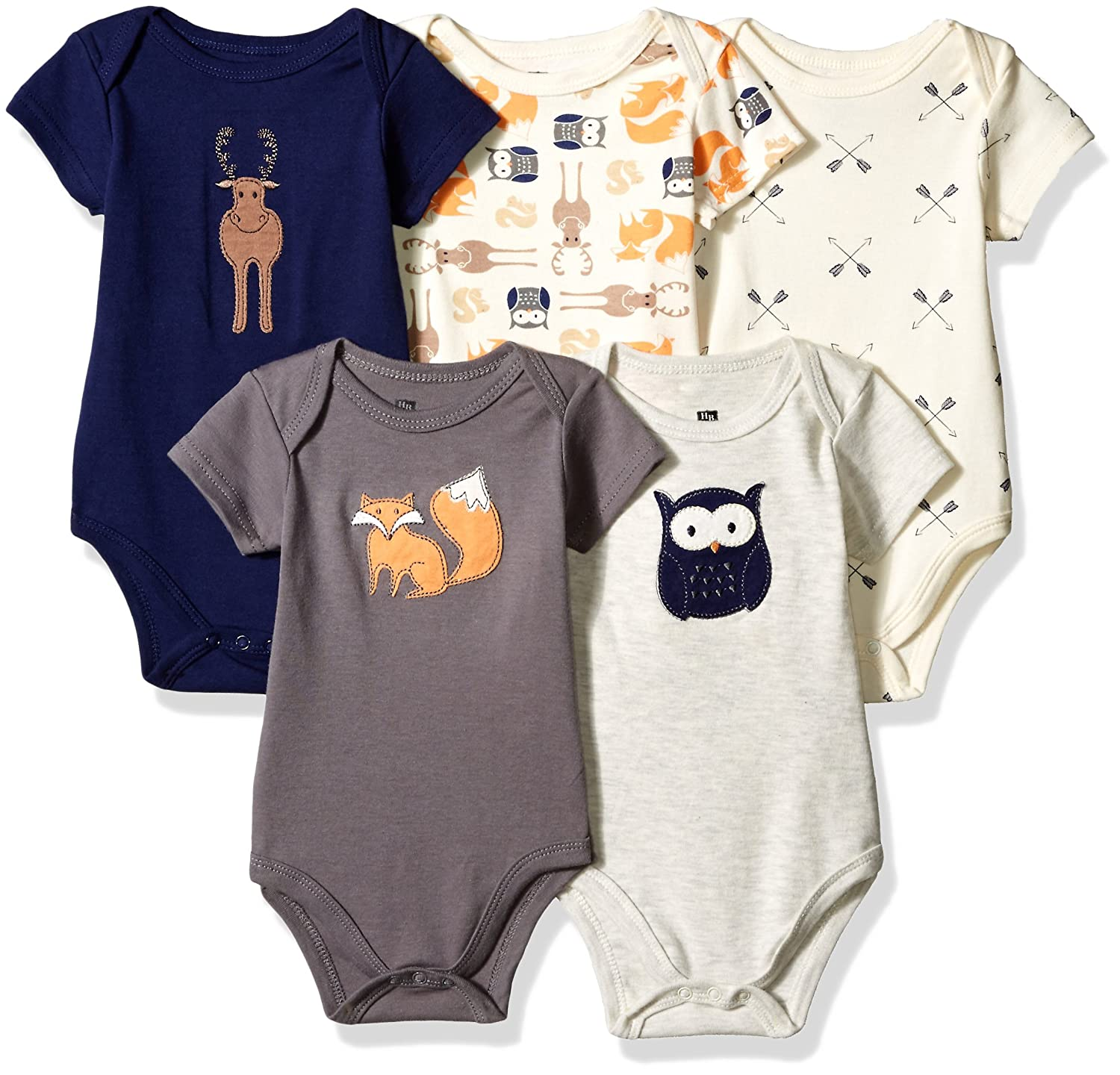 Hudson Baby Unisex Baby Cotton Bodysuits, Woodland Creatures 5 Pack, 3-6 Months (6M) Yoga Sprout Children' s Apparel -- Dropship 51497M