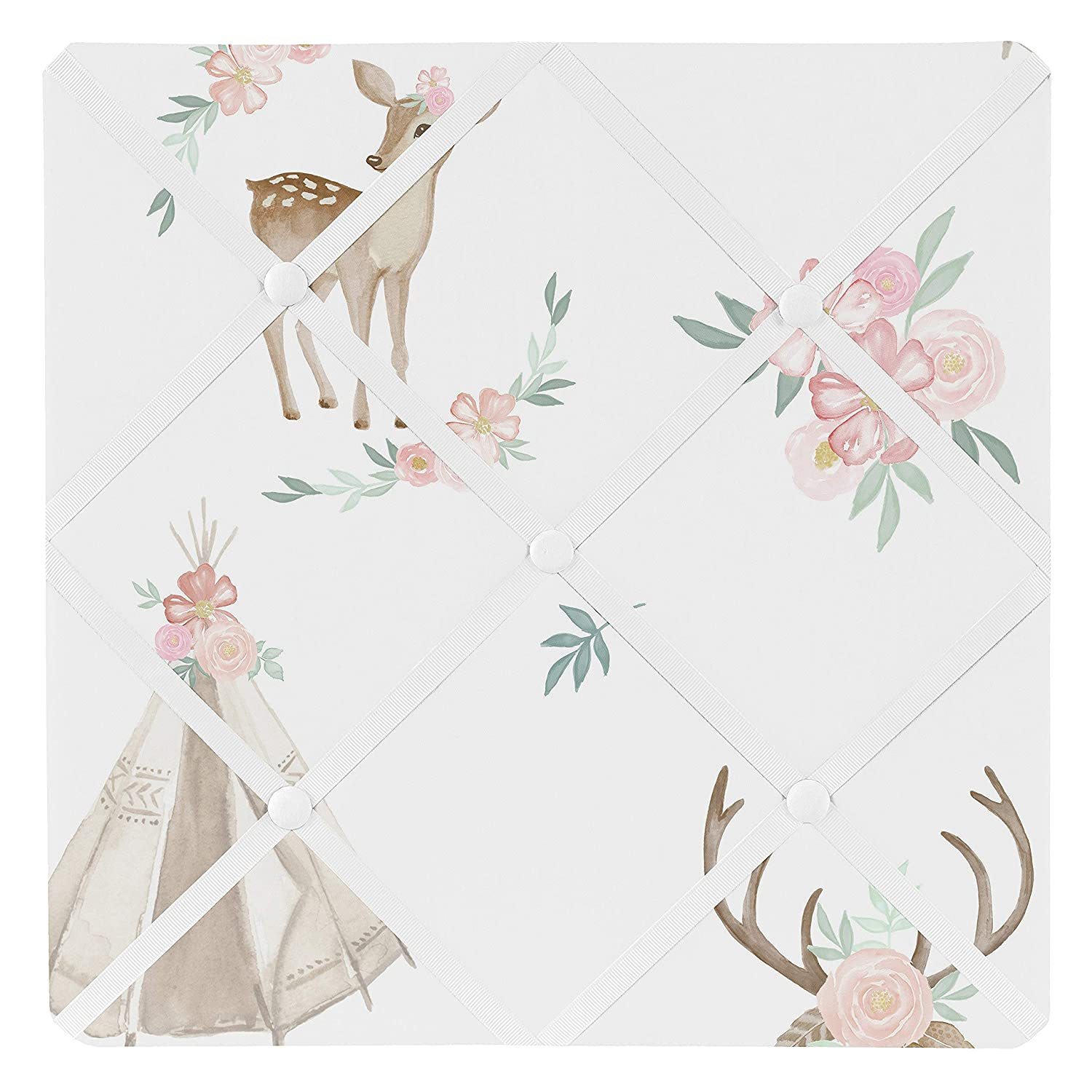 Sweet Jojo Designs Blush Pink, Mint Green and White Boho Fabric Memory Memo Photo Bulletin Board for Woodland Deer Floral Collection