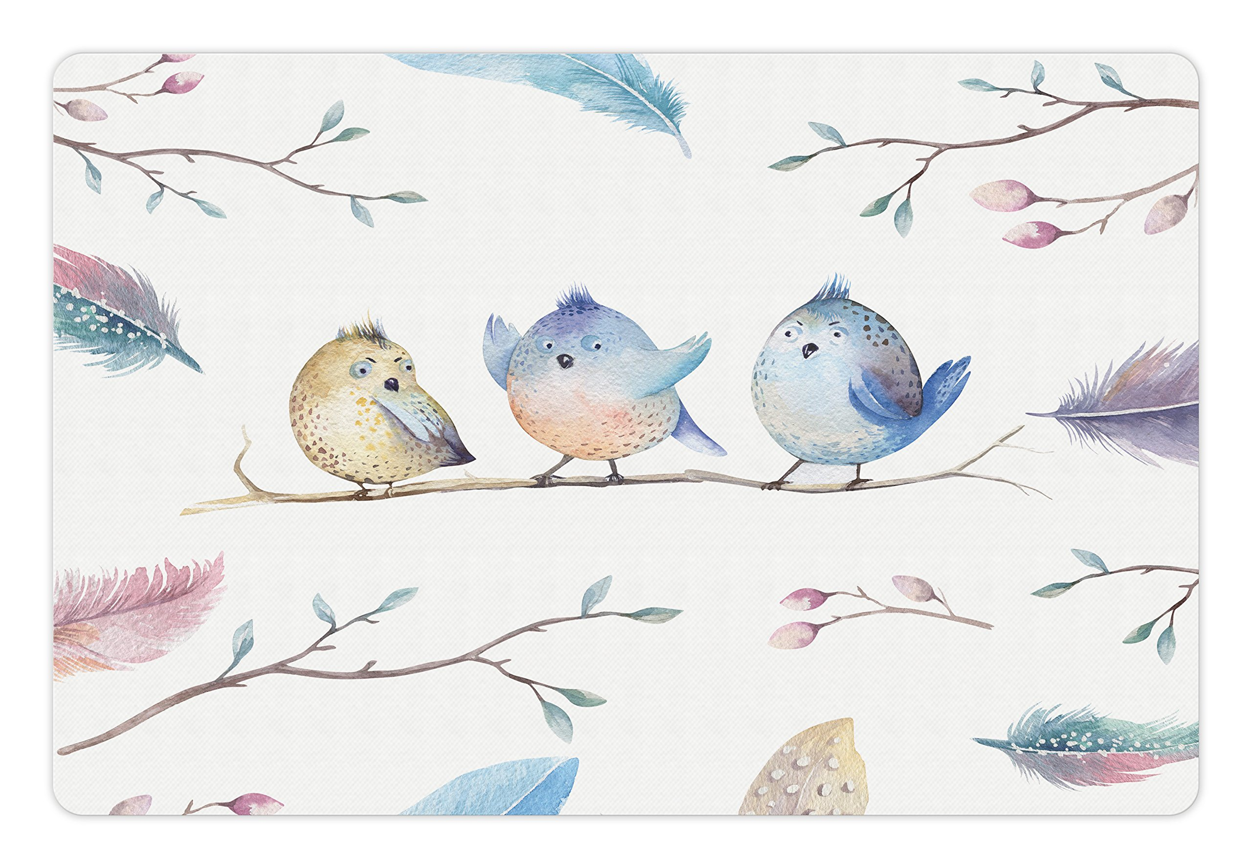 Lunarable Animal Pet Mat for Food and Water, Hand Drawn Birds Sitting on Branch Cartoon in Boho Style Watercolors Leaves Feathers, Rectangle Non-Slip Rubber Mat for Dogs and Cats, Multicolor