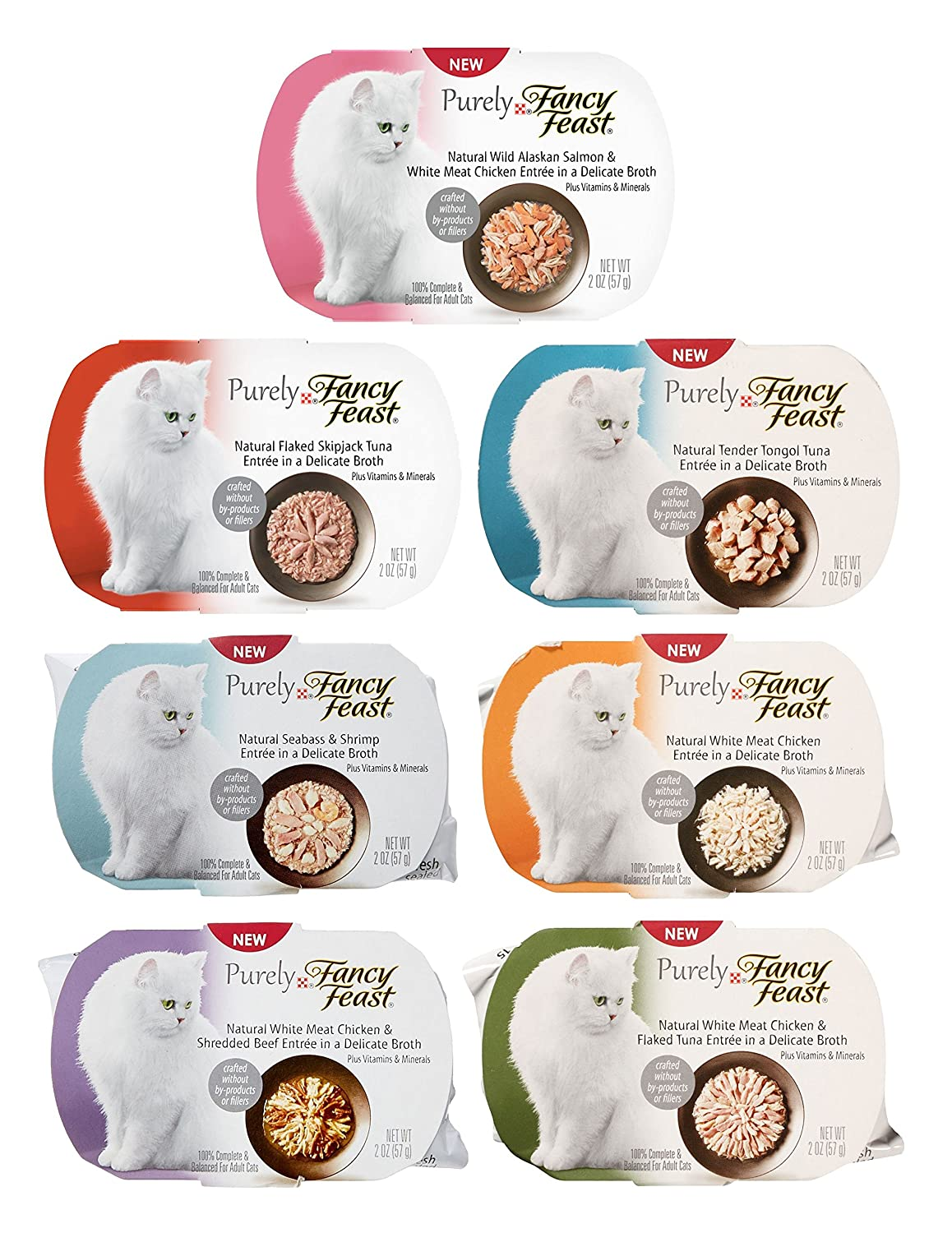 14 Pack Purely Fancy Feast Variety Pack, 7 Flavors, 2-Ounces Each (14 Pack) by Fancy Feast