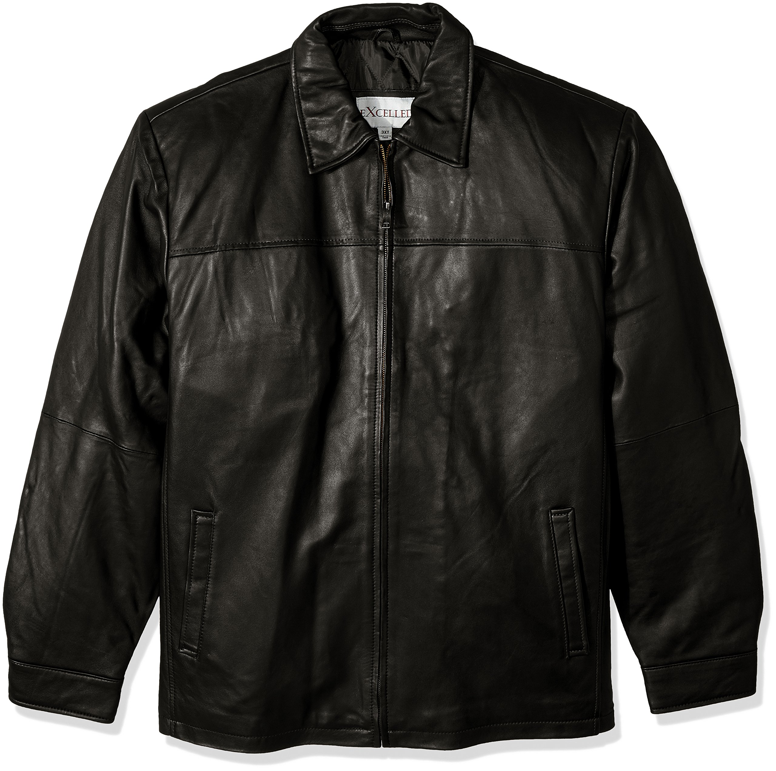 Excelled Men's Big and Tall New Zealand Lambskin Leather Classic Open Bottom Jacket, Black, 2XLT