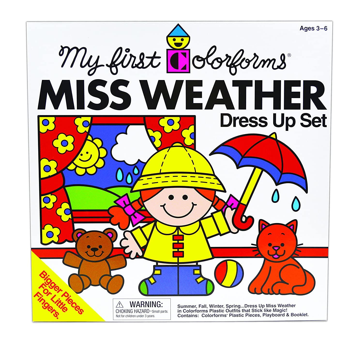 amazon com my first colorforms miss weather dress up set toys
