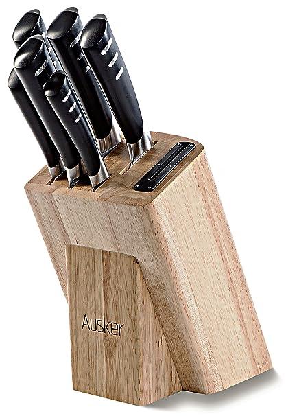 Ausker - Juego de 6 cuchillos en acero inoxidable con bloque en madera y afilador integrado