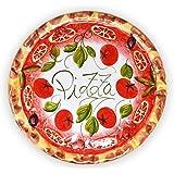 Lashuma handgemachter Pizzateller Tomate aus italienischer Keramik, großer Teller rund ca. 33 cm