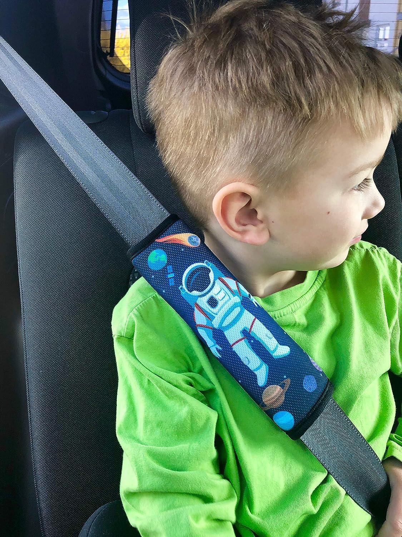 HECKBO/® 1x Protezione per Cintura di Sicurezza Spallina Imbottita Copricintura per Bambini con Astronauta nello Spazio - anche per Seggiolini su Auto e Bici Cuscino per Auto Space Astronaut
