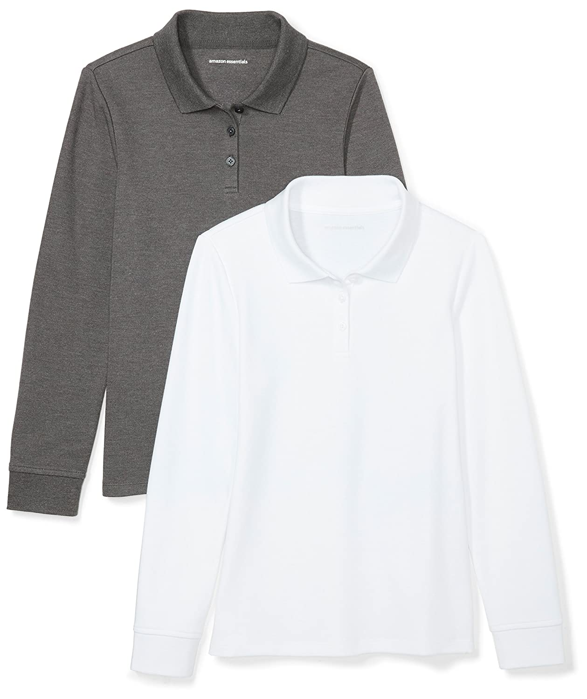 Amazon Essentials Girls Girls' 2-Pack Long-Sleeve Interlock Polo GAE40014FL18