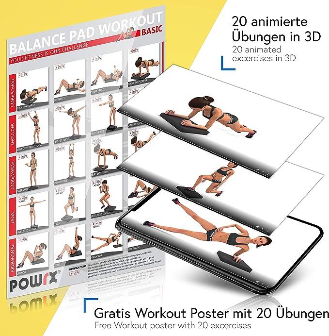 POWRX Cojin de equilibrio en gomaespuma (48 x 38 cm) - Balance pad ideal para entrenar la coordinación, la fuerza y el equilibrio - Superficie antideslizante dotada de microalveolos + PDF workout (