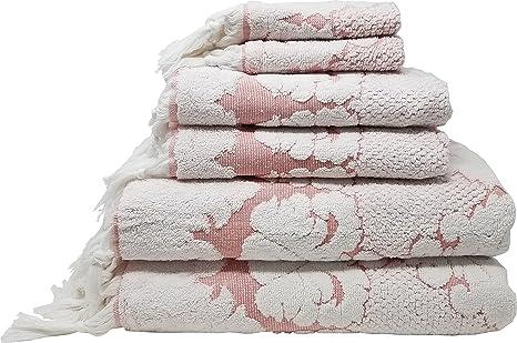 LUNASIDUS Nysa 100% auténtico algodón turco adorno floral Jacquard mano flecos 8 piezas Juego de