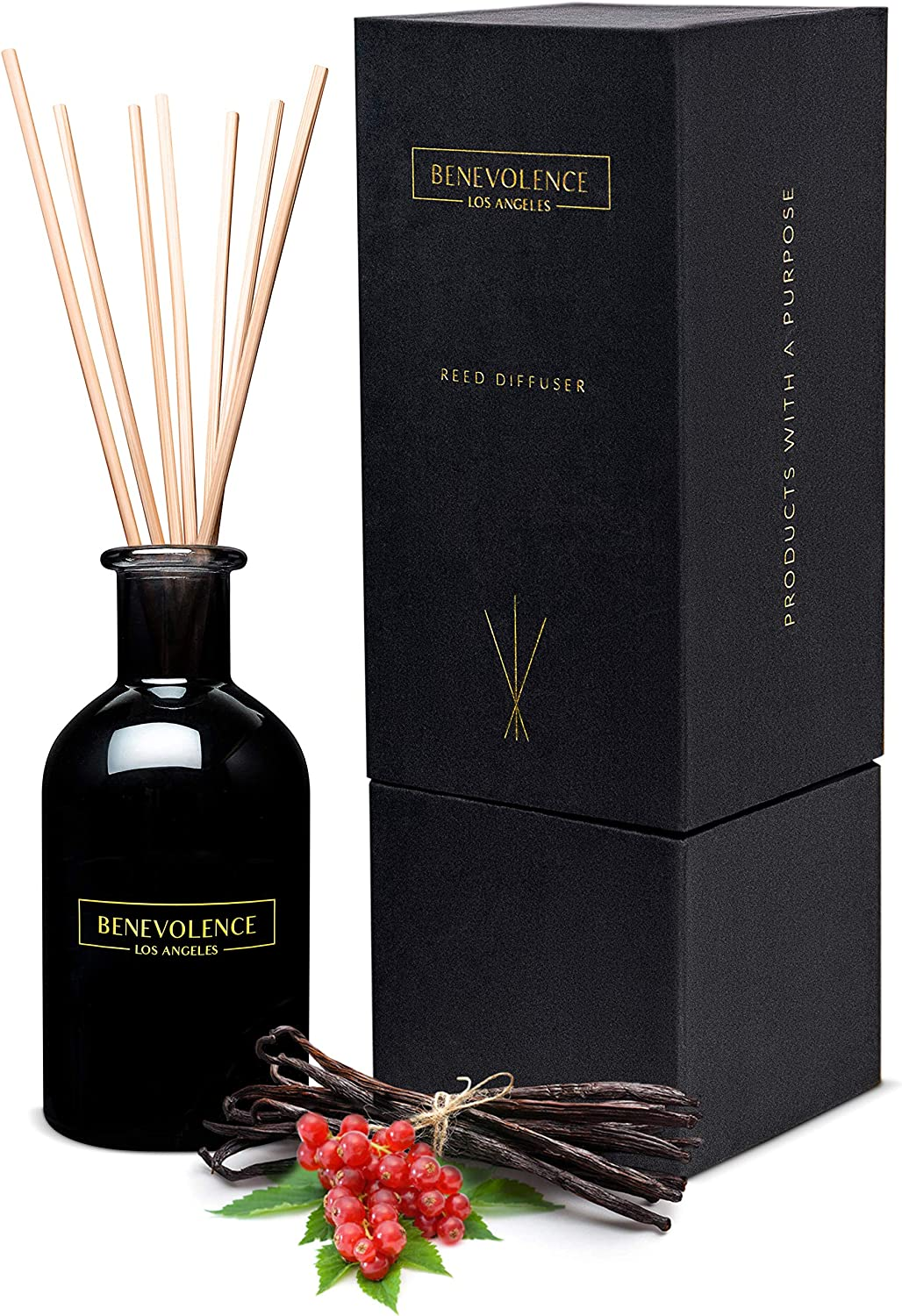 Benevolence LA Reed Diffusers for Home | Redcurrant & Vanilla Fragrance Diffuser | Aromatherapy Scented Oil Reed Diffuser Set | Sticks Diffuser