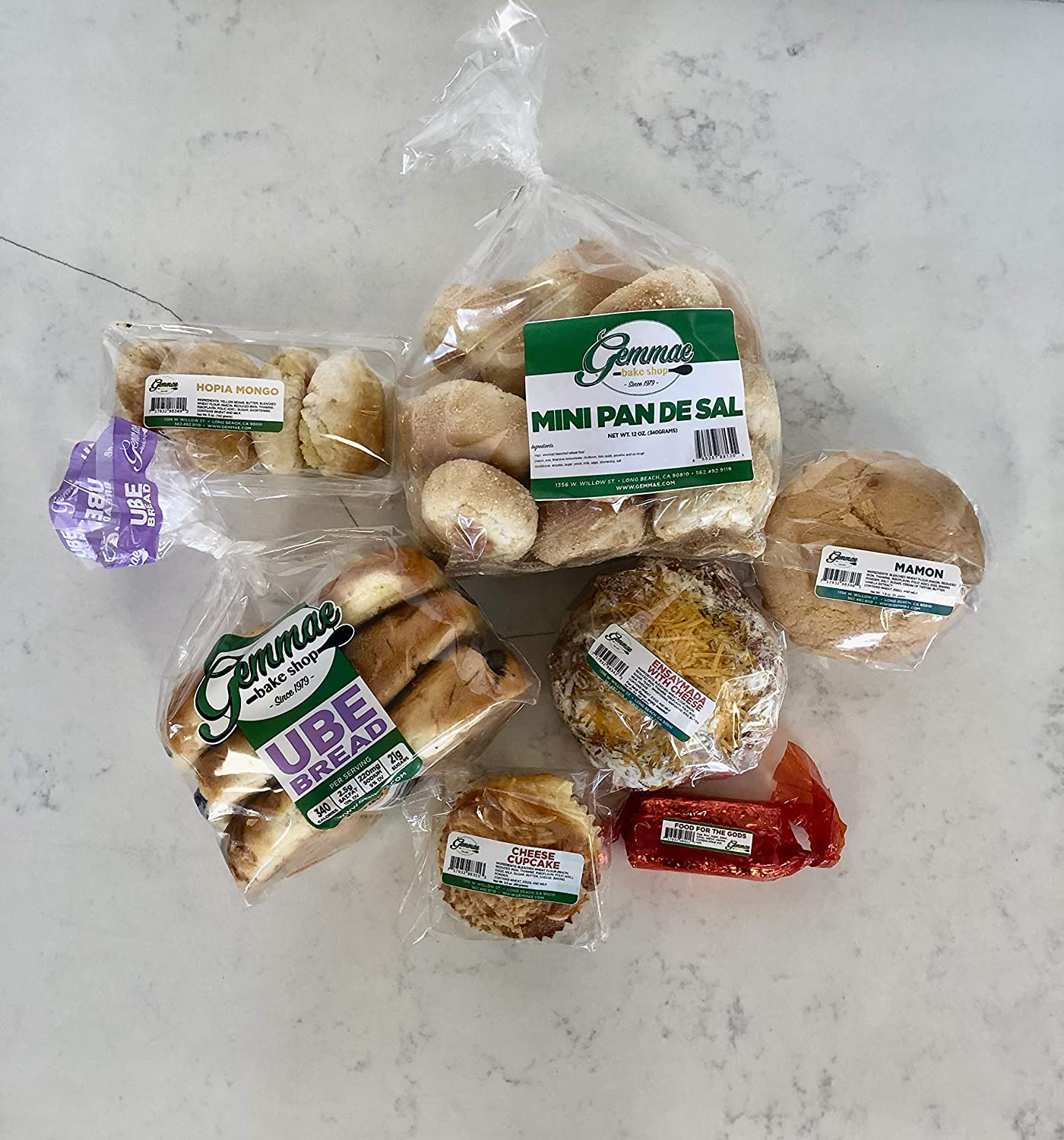 Gemmae Bake Shop - Filipino Bread & Pastry Favorites - Includes: Pandesal, Ensaymada, Ube Bread, Hopia, Cheese Cupcake, Food for the Gods