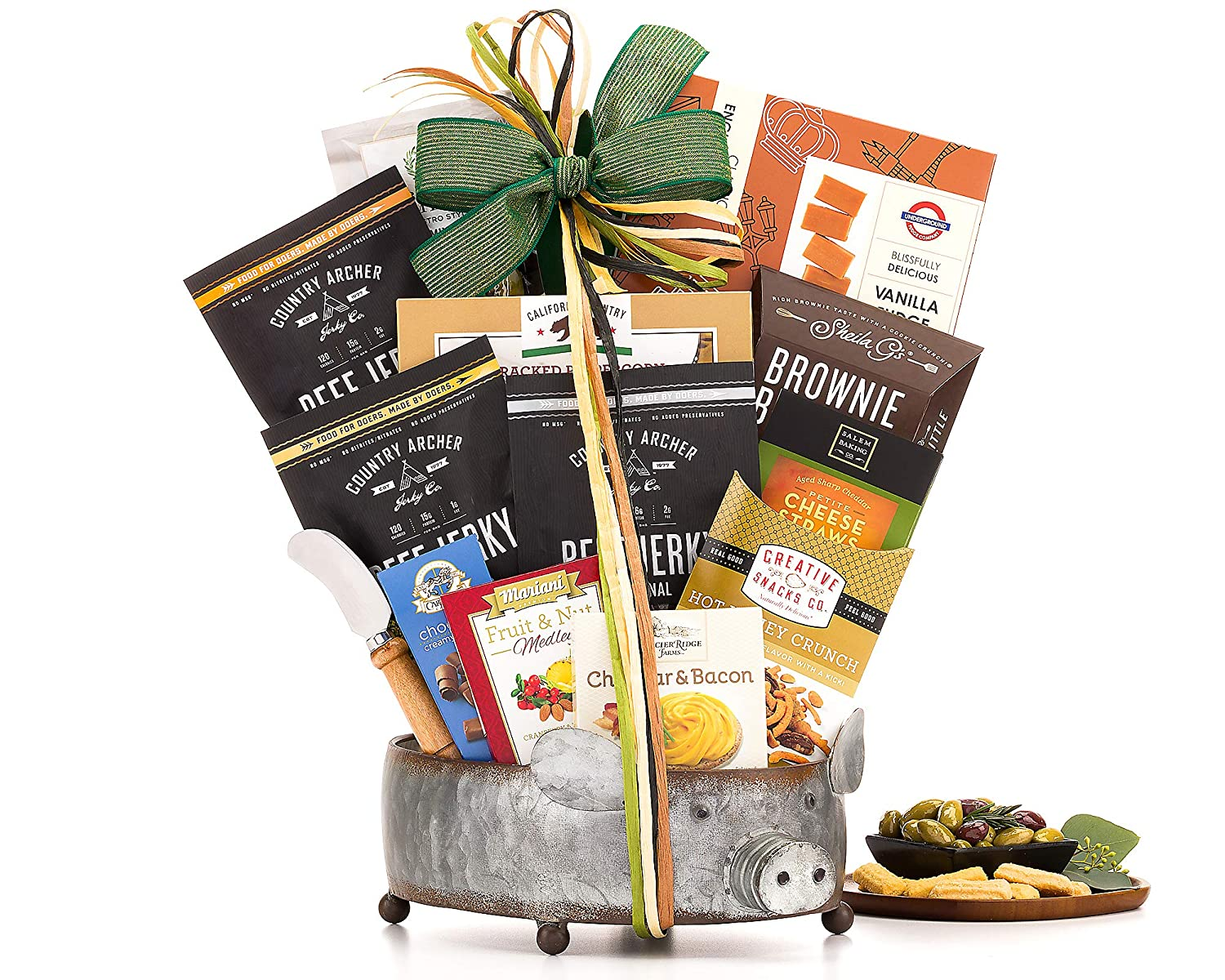 Father's Day Gift- Gourmet Jerky and Savory Snacks Spectacular Pig-Shaped Reusable Metal Gift Basket Snacks Cheese Spread Peanuts and more