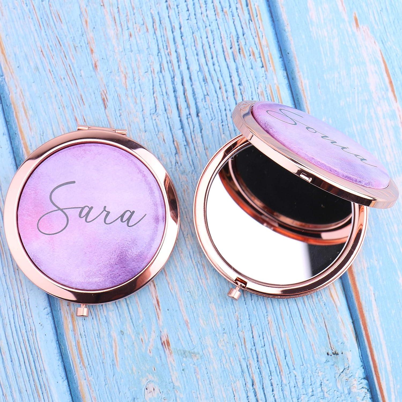 Espejo compacto personalizado con 2 aumentos de tu nombre para dama de honor, regalo personalizado para el día de la madre