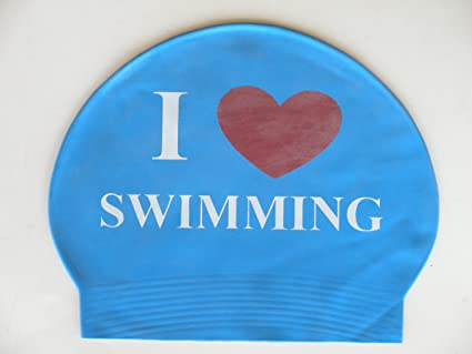 8d49bd5a94 Amazon.com : I Love/Heart Swimming Latex Swim Cap : Sports & Outdoors