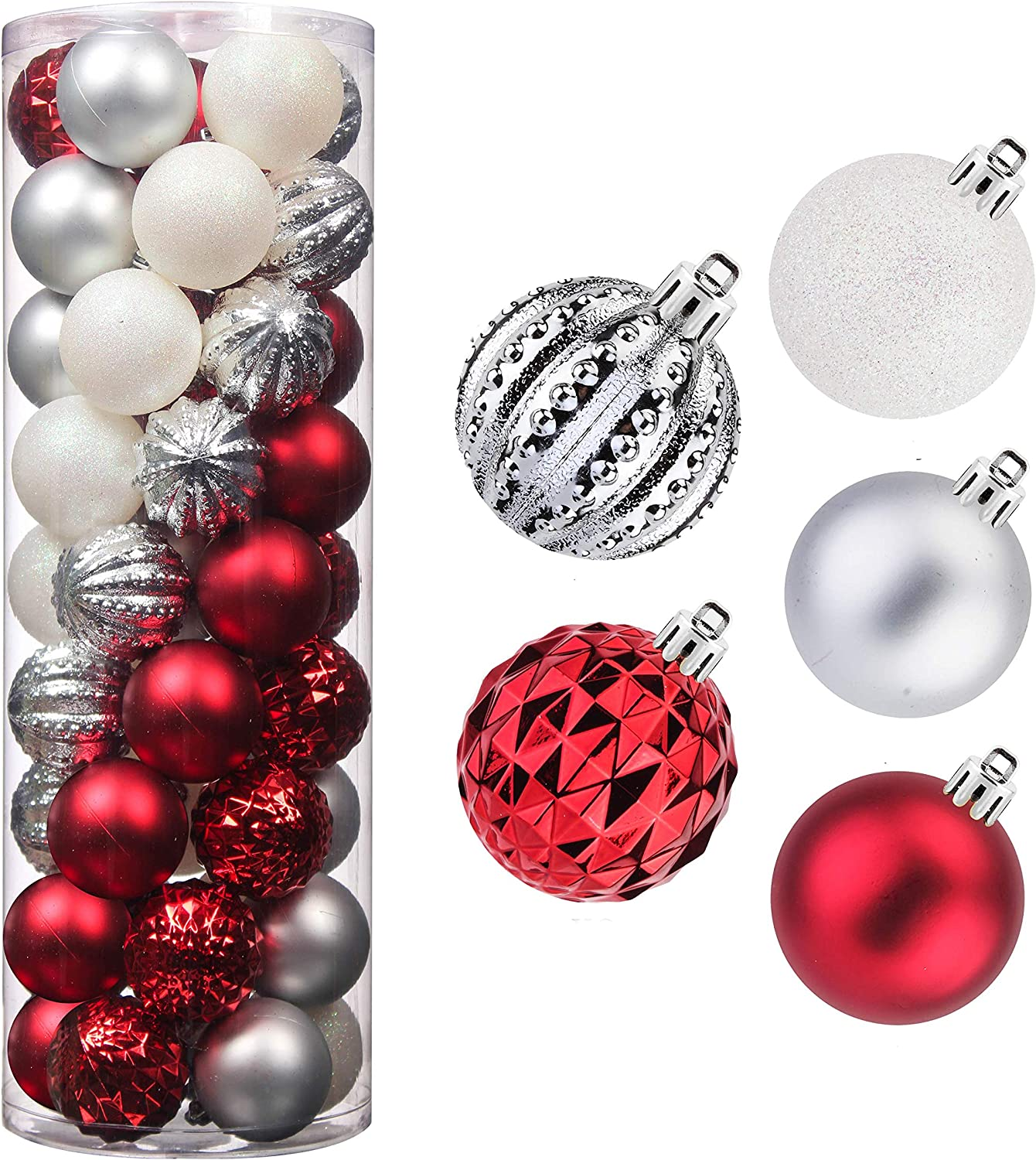 Christmas Balls,45Pcs 2.36inch Glitter Christmas Tree Ornaments Hanging Christmas Home Decorations for Home House Bar Party(Red/White/Silver)