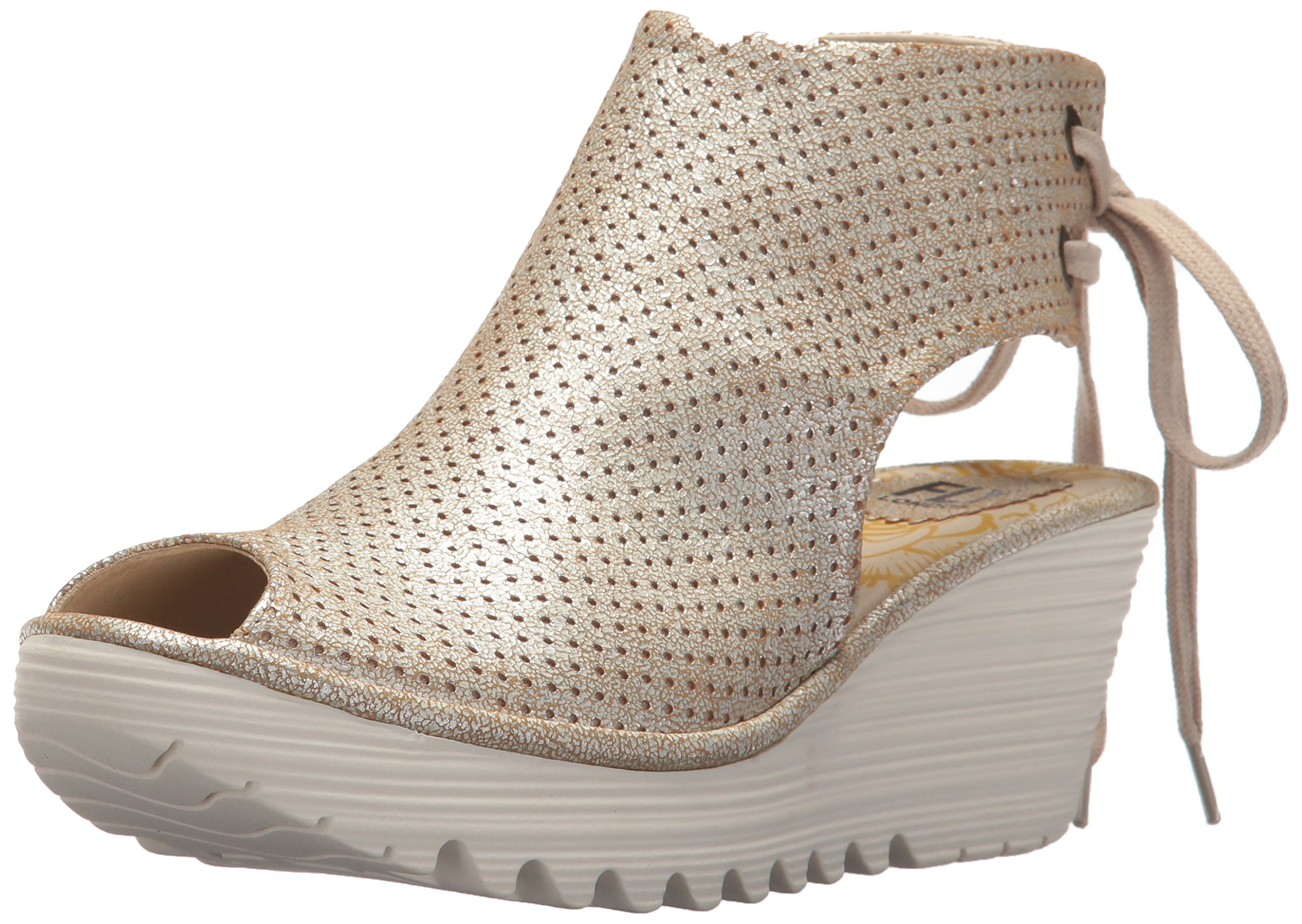 FLY London Women's Ypul799fly Wedge Sandal, Pearl Cool, 41 M EU (10-10.5 US)