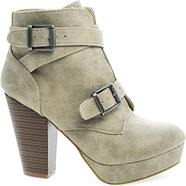 d6593aa06a7 Bamboo Womens Huxley-15 Almond Toe Strappy Buckle Platform Block Heel Ankle  Bootie