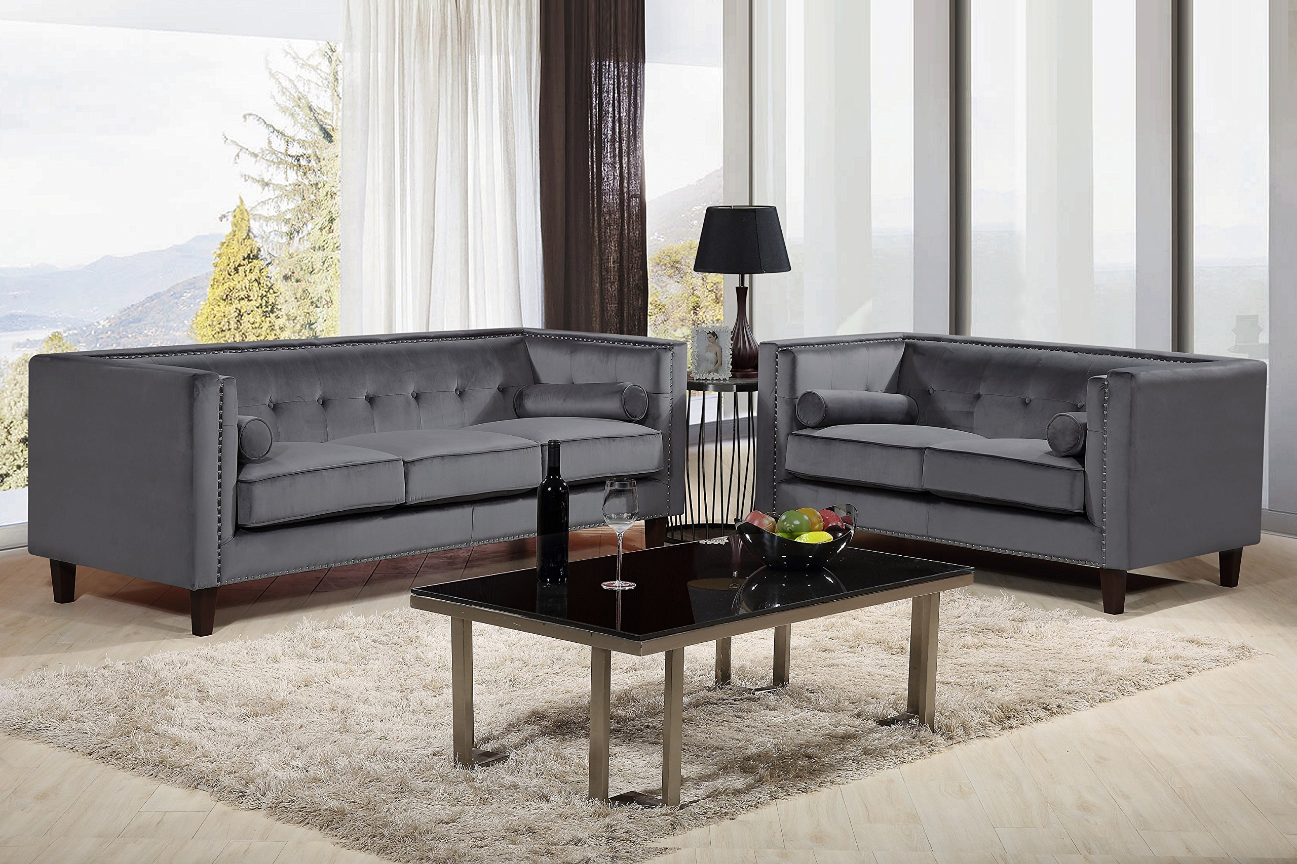 Container Furniture Direct S5369-2PC Kitts Velvet Upholstered Modern Chesterfield Sofa Set, 78'' Sofa and Loveseat, Blue by Container Furniture Direct