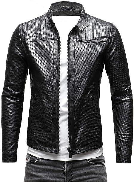 promo code ba449 23517 Crone Epic Herren Lederjacke Cleane Basic Echtleder Jacke in vielen  Varianten und Farben
