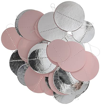 bridal shower decoration pastel pink silver white baby shower dcor paper circle