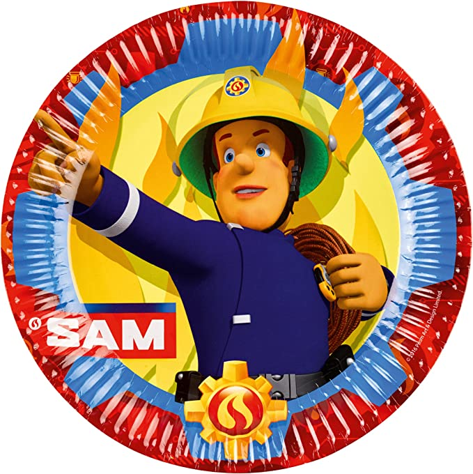 Teller Becher Servietten Papiertrinkhalme f/ür 16 Kinder Amscan//hobbyfun 68-teiliges Party-Set Feuerwehrmann Sam