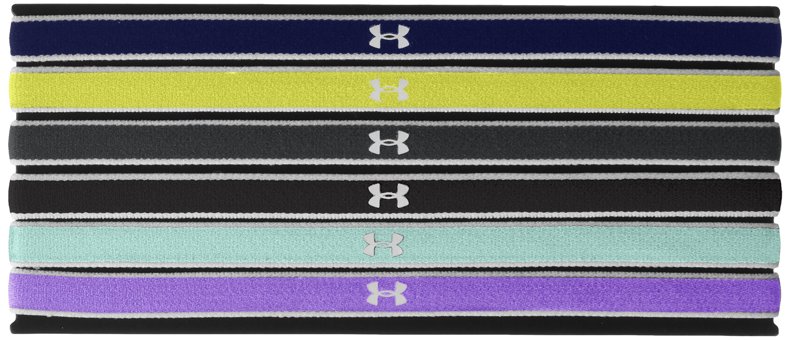 Under Armour Girls' Mini Headbands - 6 Pack ,Violet Storm (744)/White, One Size