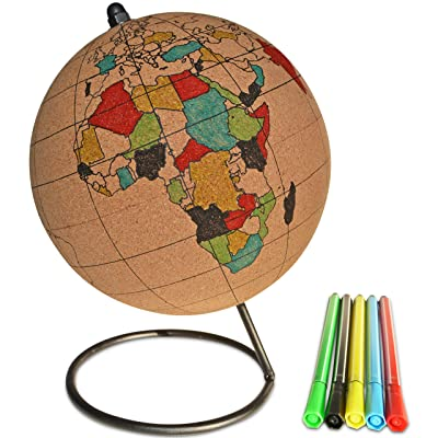 Globe Trekkers - Small Color-in Cork Globe with 5 Different Colored Markers & Durable Steel Base | Great for Mapping Travels & Educational Purposes | Does Not Have Plastic Strip Like Most: Toys & Games