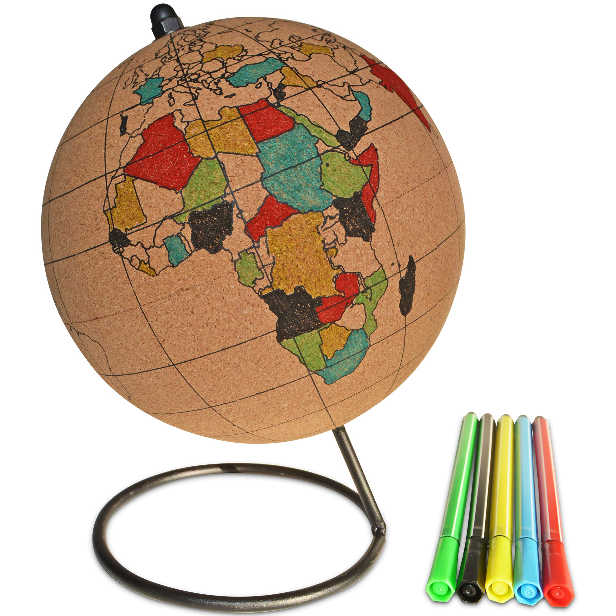 Globe Trekkers - Color-in Cork Globe with 5 Different Colored Markers & Durable Steel Base | Great for Mapping Travels & Educational Purposes | Does Not Have Plastic Strip Like Most