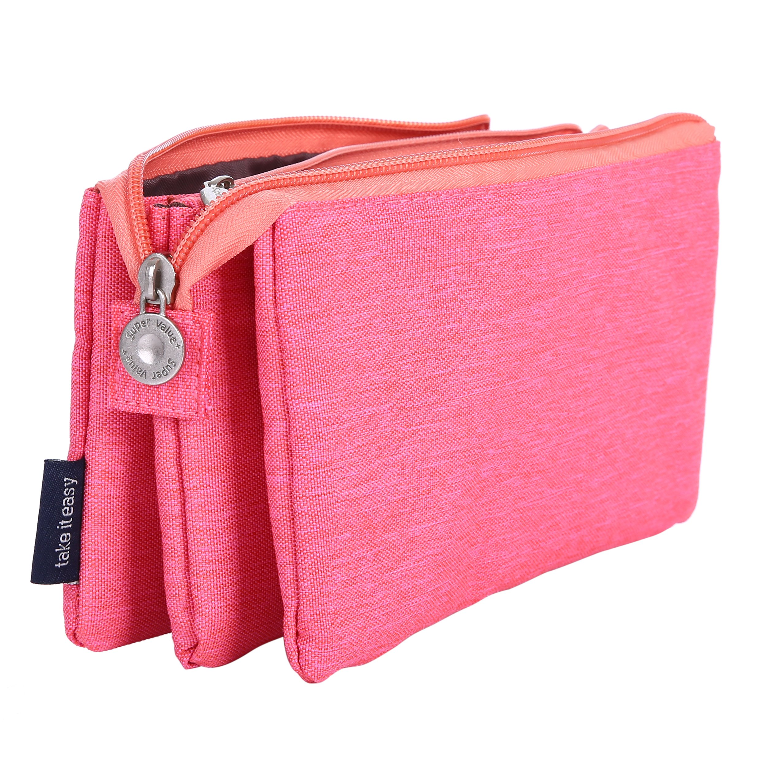 O,Like Super Capacity Pencil Case Three Compartment Pencil Holer Pencil Pouch Pen Bag Cosmetic Bag (rosered)