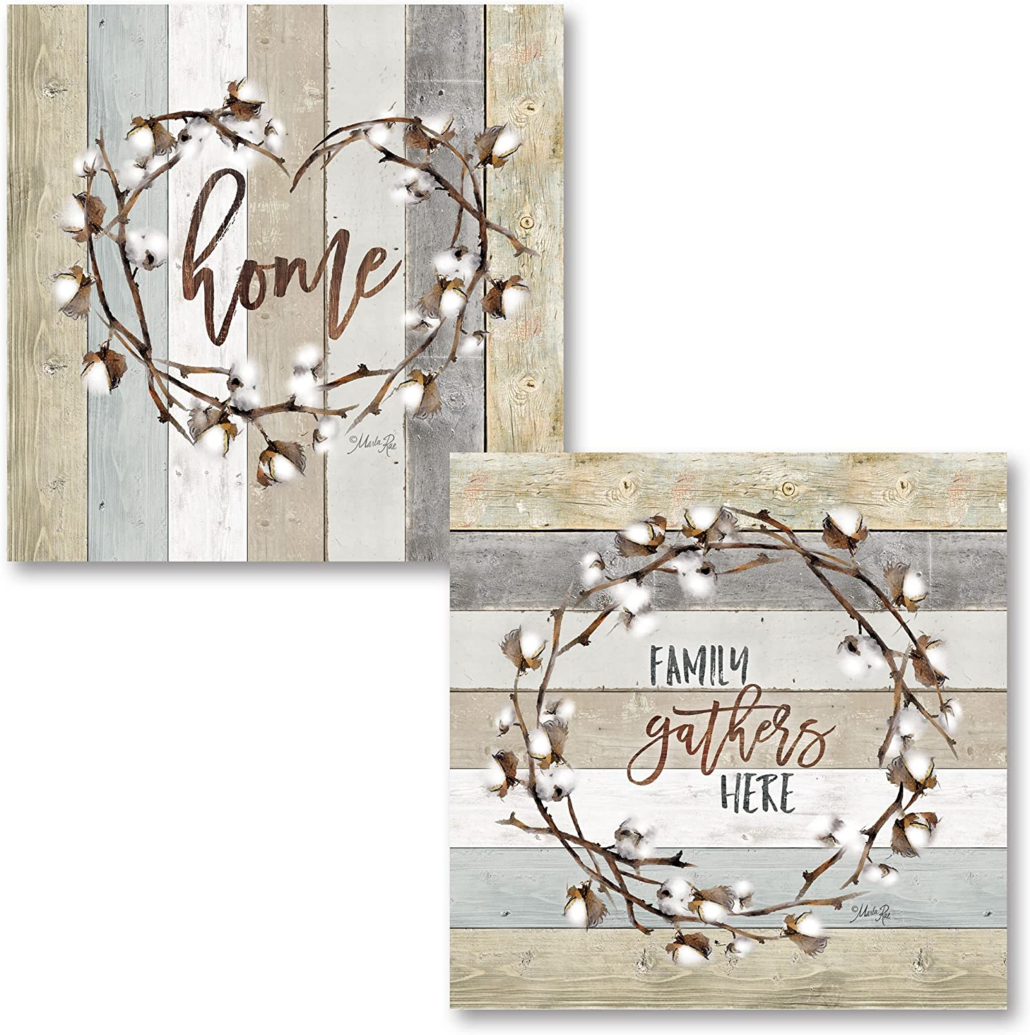Gango Home Decor Contemporary Family Gathers Here Cotton Wreath & Home Cotton Wreath by Marla Rae (Printed on Paper); Two 12x12in Unframed Paper Posters