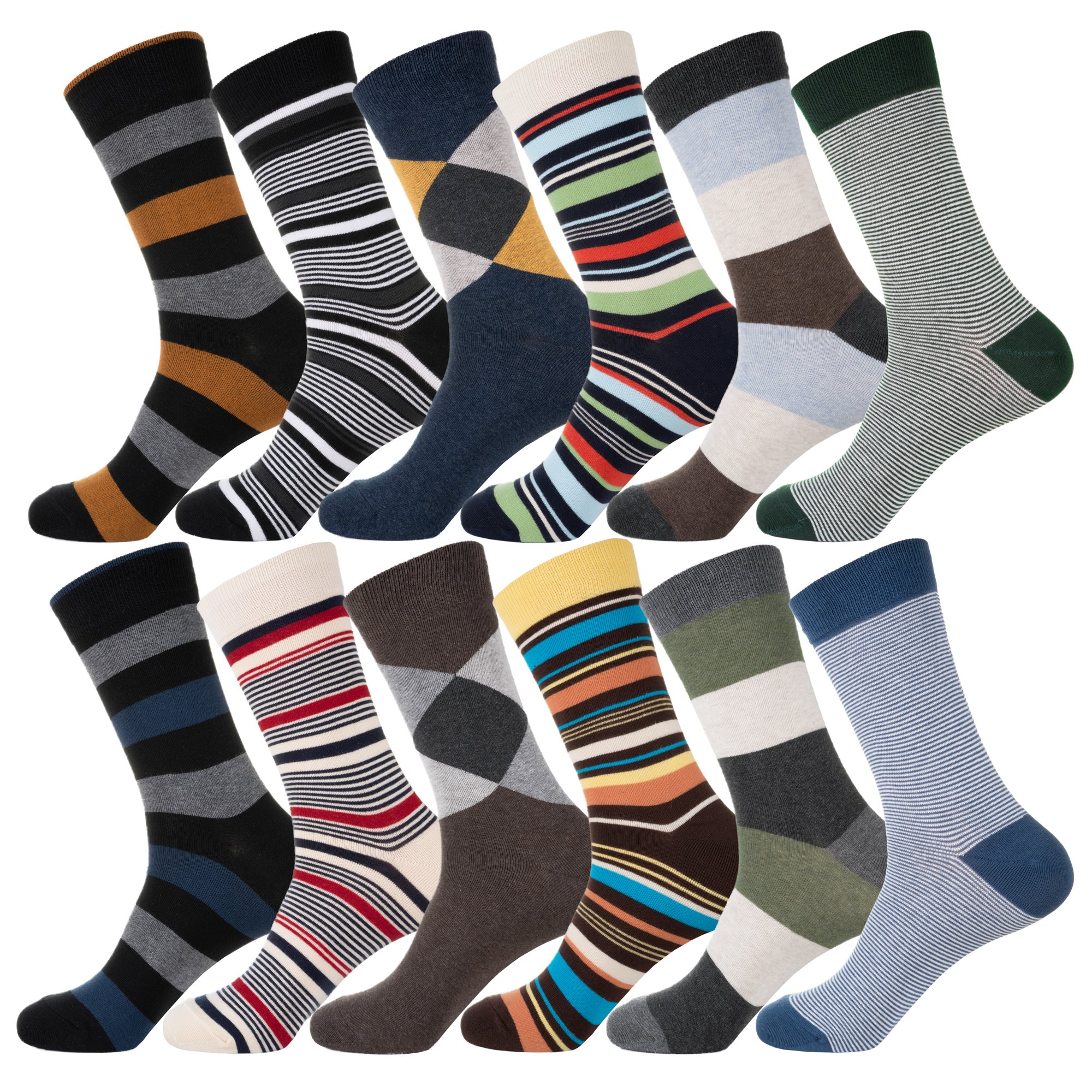 YourFeet Men's 12 Pack Thin Cotton Colorful Stripe Argyle Designed Business Dress Socks Gift Size 9-12 (Assorted-2)