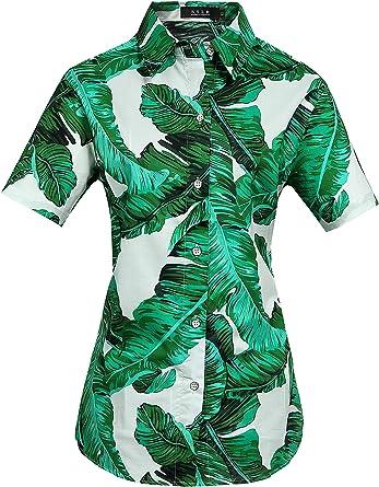 SSLR Camisa Estilo Hawaiana Estampada de Hojas de Banana Casual para Mujer: Amazon.es: Ropa y accesorios