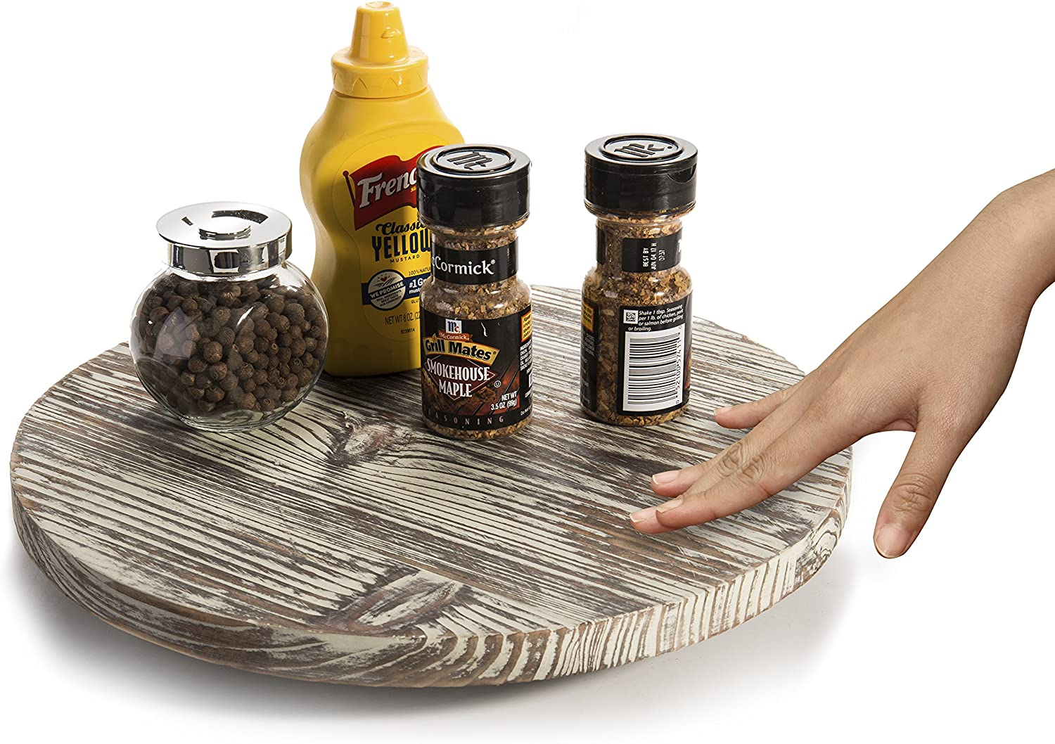 MyGift 13-Inch Torched Wood Lazy Susan Turntable
