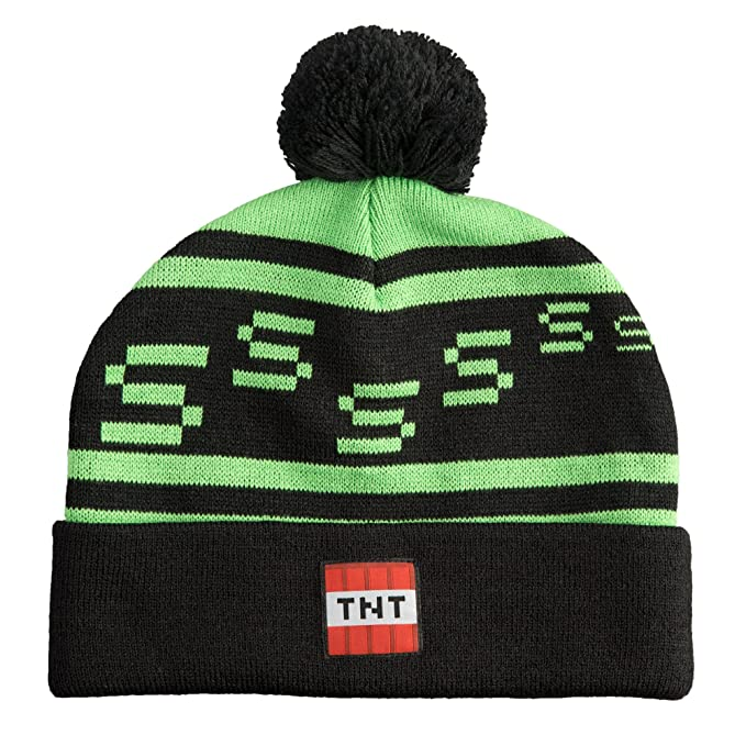 eb4a68ce761 Image Unavailable. Image not available for. Color  JINX Minecraft Creeper  TNT Knit Pom Beanie ...