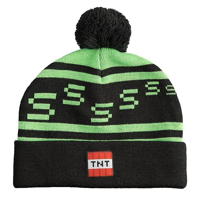 c7fd95de28c Amazon.com  JINX Minecraft Creeper TNT Knit Pom Beanie (Green Black ...
