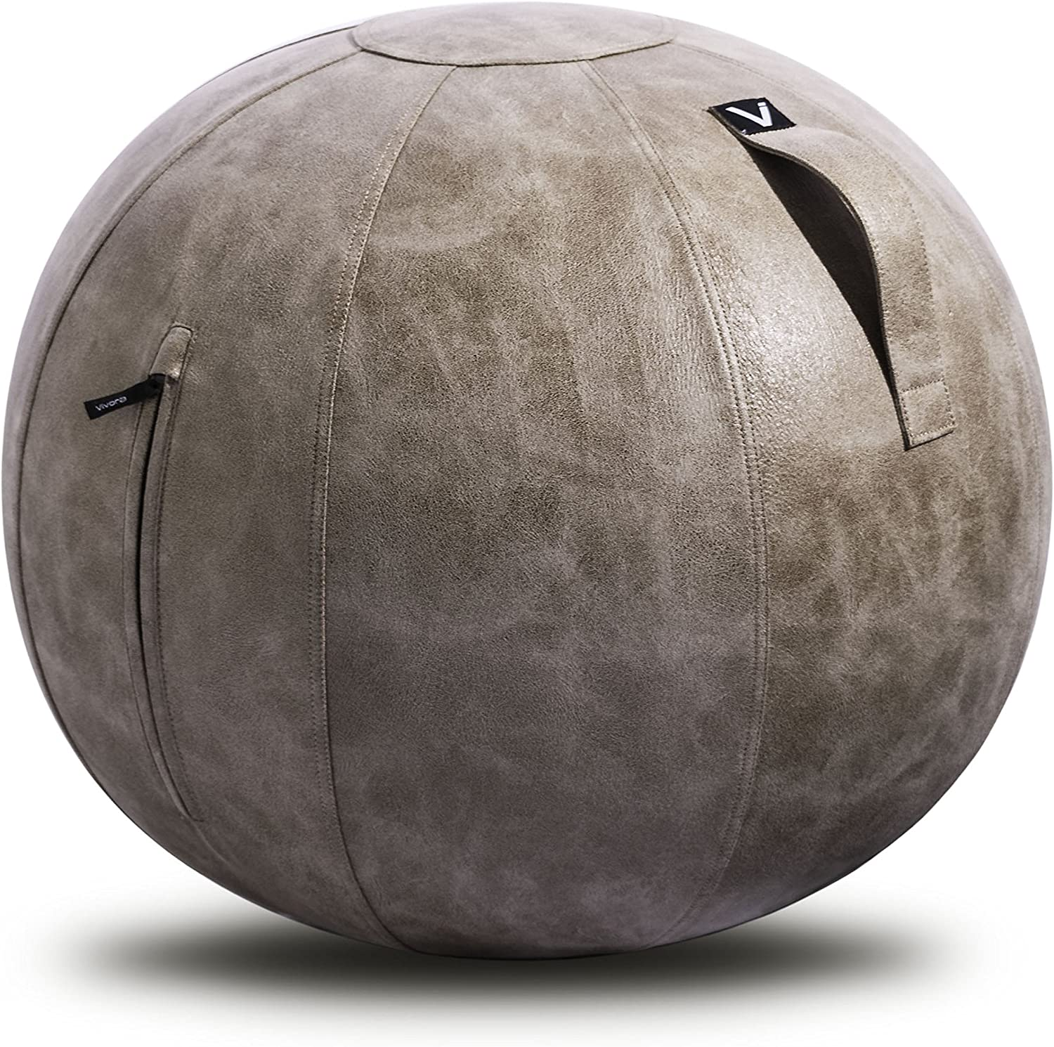 Vivora Luno - Sitting Ball Chair for Office and Home, Lightweight Self-Standing Ergonomic Posture Activating Exercise Ball Solution with Handle & Cover, Classroom & Yoga, Standard
