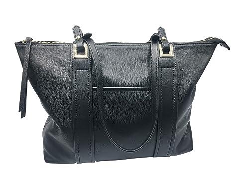 b101e148b8b9 Vintage Genuine Leather Tote Large Everyday Shoulder Bag for Work Handbag  Premium Purse(Black Leather