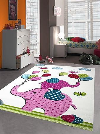 Kinderteppich Spielteppich Kinderzimmer Teppich Babyteppich Bunte Elefanten Pink  Rosa Türkis Grün Größe 80x150 Cm
