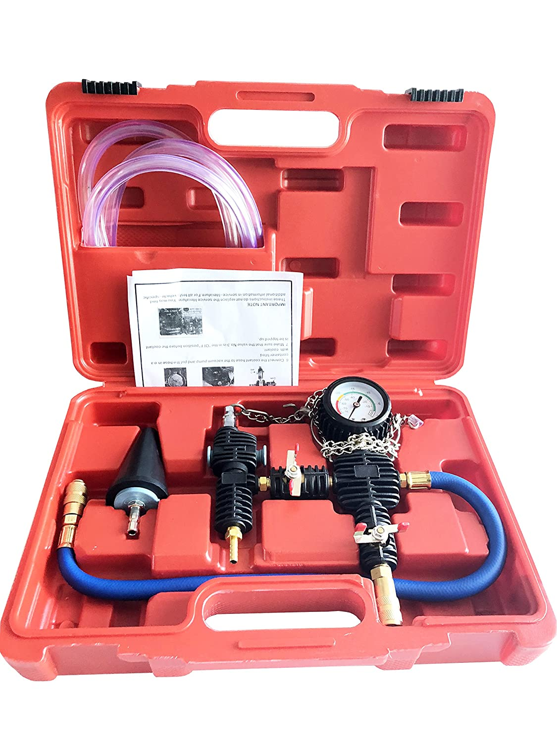 GooMeng System Vacuum Purge & Coolant Refill Kit with Carrying Case for Car SUV Van Truck Cooler