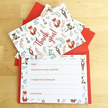 Kids Christmas Thank You Cards Pack Of 10 Festive Fill The Gaps