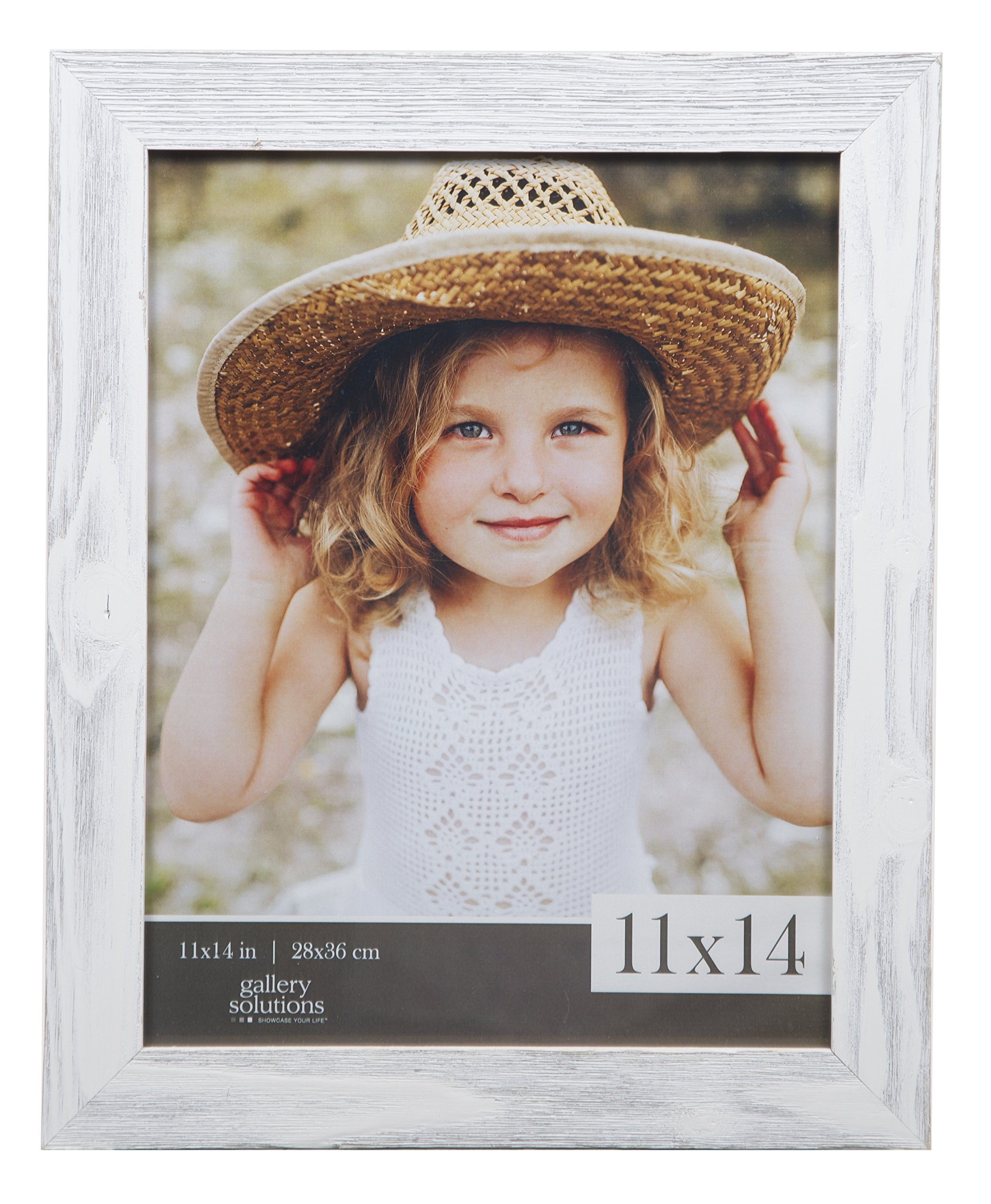 Gallery Solutions 11x14 Farmhouse Washed Wall Frame in White by Gallery Solutions