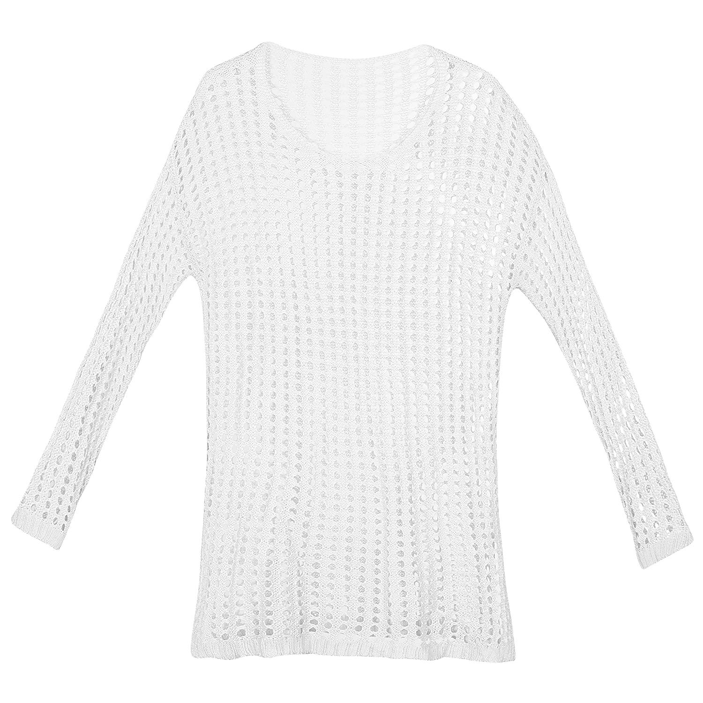 SUNNOW® Damen Sommerkleid Strandkleid Strick Bikini Cover Up Bademode Frauen Tunika Häkeln Bluse Langarm