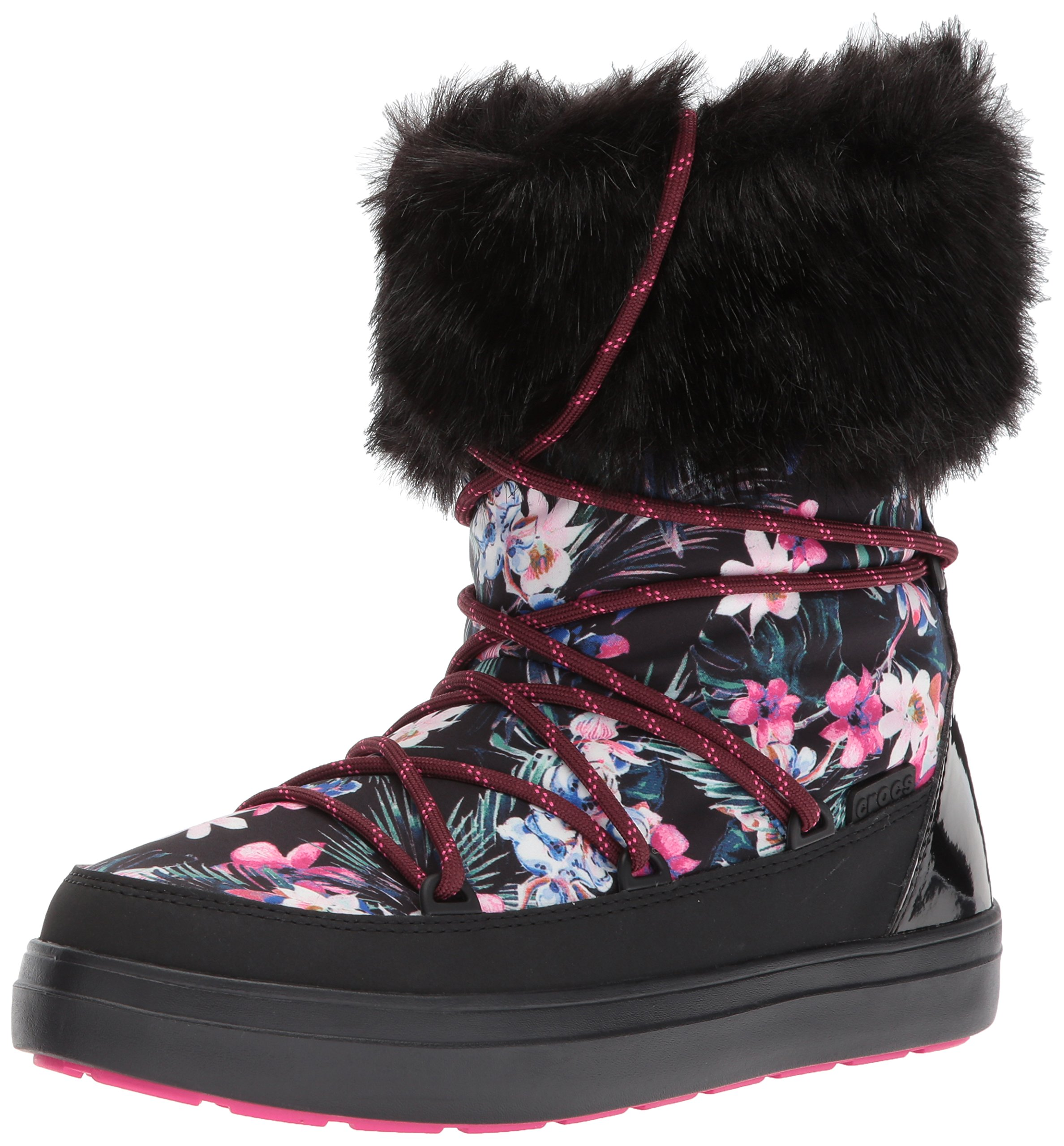 Crocs Women's LodgePoint Graphic Lace W Snow Boot, Tropical/Black, 8 M US
