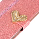 Yobby Samsung Galaxy A9 2018 Wallet Case,Cute Bling Sparkle Shiny PU Leather Purse Case with Kickstand Card Holder ID Slot Shockproof Folio Flip Cover,Glitter Pink