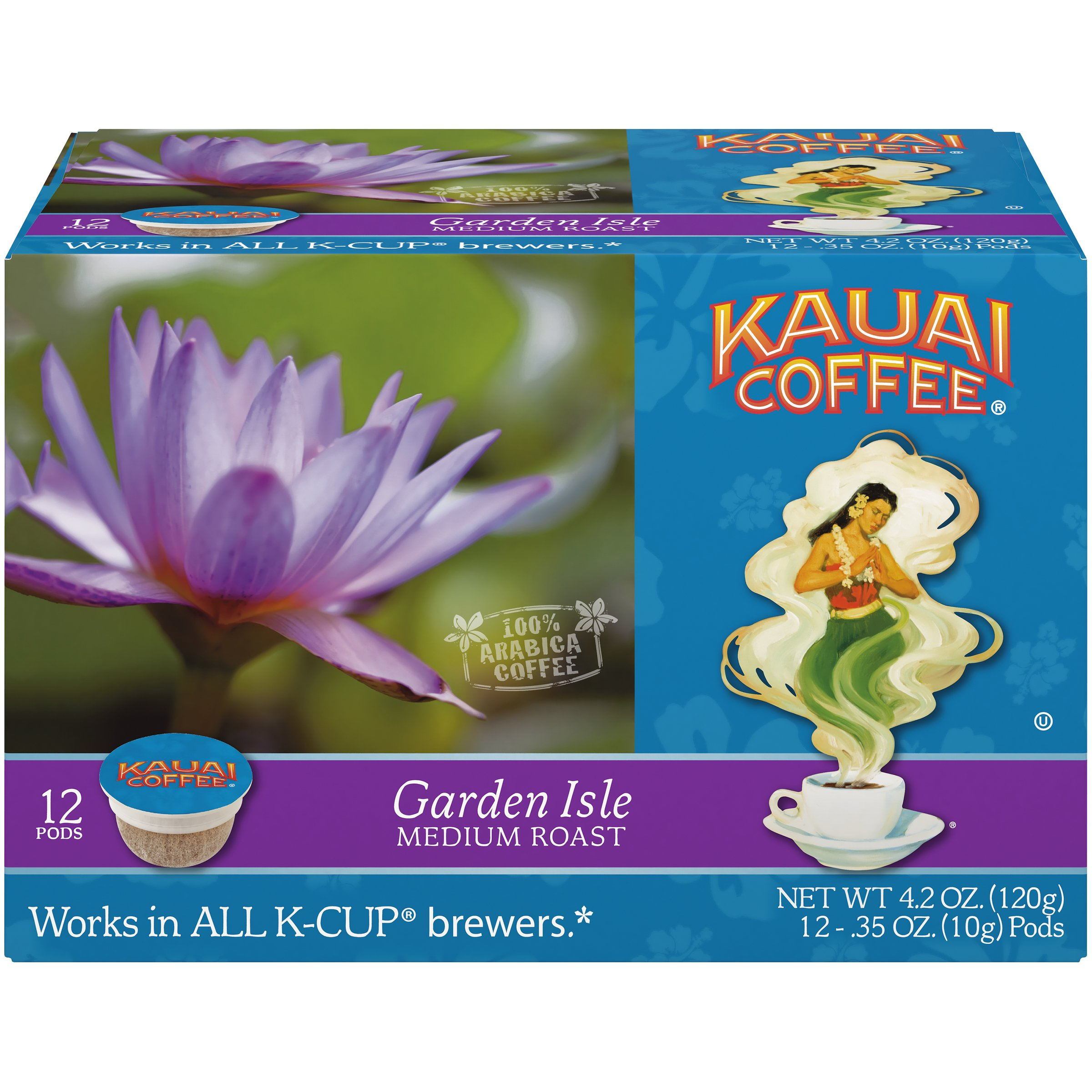 Kauai Coffee Single-serve Pods, Garden Isle Medium Roast - 100% Premium Arabica Coffee from Hawaii's Largest Coffee Grower, Compatible with Keurig K-Cup Brewers - 72 Count